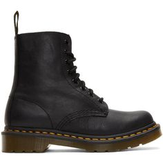 Dr. Martens Black Pascal Boots (£105) ❤ liked on Polyvore featuring shoes, boots, black, rubber sole shoes, kohl shoes, black shoes, black boots and leather shoes