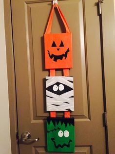 Halloween acrylic canvases with ribbon