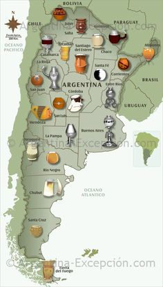 Maps of Argentina ▷ Map of mates in Argentina: see our maps and discover our usefull information about Argentina. Love Mate, Argentina Culture, Yerba Mate Tea, Romantic Escapes, Spanish Culture, Ushuaia, South America Travel, Homemade, Around The Worlds