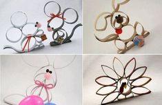 Mira qué fácil puedes hacer entrañables ratoncitos, conejos, perros o pavos reales con aros de tubos de cartón