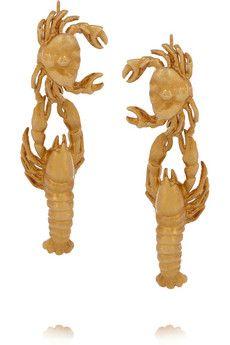 Virzi De Luca Gold Plated Lobster Earrings Net A Porter Plaque