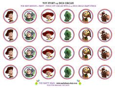 Toy Story Birthday Cupcake Toppers - Stickers - Tags: Digital pdf File YOU PRINT -1.5 Inch Circles. $4.99, via Etsy.