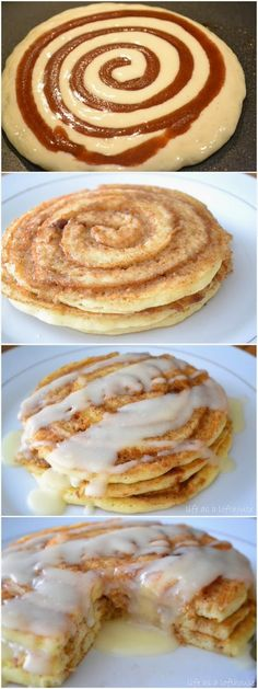 Cinnamon Roll Pancakes ~ Focuseat...love this. I used to make something like these, only these are neater& look like cinnamon rolls!