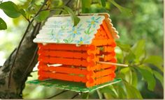 This cute popscile birdhouse cane easily made by kids from ages 5-9, with just a bit of adult situation. This may take a few days because of time for paint to dry. There is really good info at the website, like where to get the materials and really easy to understand instructions. All you need is some birdseed!  http://www.craftprojectideas.com/index.php/how-to/material-of-the-month/wood-craft-sticks/1097-bird-house-made-of-wood-craft-sticks