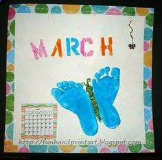 Lots of fun ideas for handprint  footprint art for kids. This blogger says: I am making a new design each month on 12 x 12 scrapbook paper and placing the new one on the refrigerator at the start of each month. At the end of the year, I will bind it together and make a fabulous cover for it. I also plan to add notes of any special memories that happened throughout the year and make a photo collage.