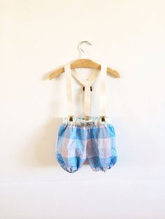 The Brass Razoo Kids Pinks and blue plaid bloomer shorts