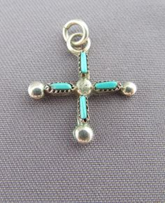 Authentic native american sterling silver and turquoise cross authentic native american sterling silver and turquoise cross pendant by zuni cecilia iule turquoise pinterest turquoise sterling silver and pendants aloadofball Images