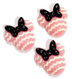 Light pink chevron mouse head w/ bow rhinestone resin cabochon 27x27mm / 1-3 pieces