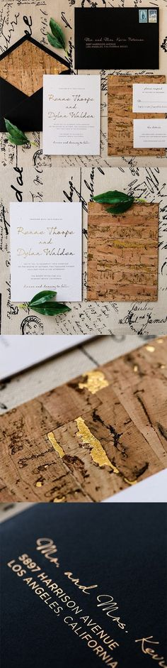 wedding invitations backed in cork with gold foil specs