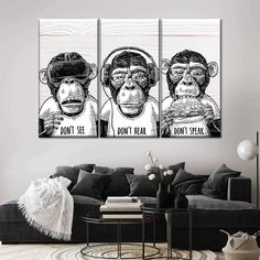 Three Monkeys Keeping Cool will easily beautify any room. Bring this stunning art of your favorite animal into your home to set a positive tone to the entire space. Boy Wall Art, Panel Wall Art, Bachelor Pad Decor, Art Moderne, Art Abstrait, Boy Room, Kids Room, Bedroom Wall, Decoration