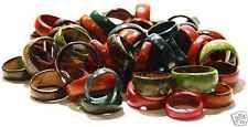 set of 10 coloured coconut rings jungle style handmade hippie goa lot wholesale