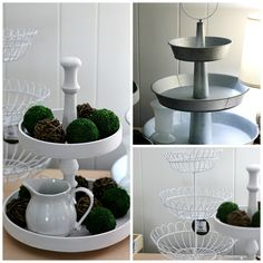 20 Fabulous Ways To Style Tiered Trays - Life With The Crust Cut Off Lauren B Montana Island Shop, Owl Kitchen Decor, Kitchen Decorations, Kitchen Table Makeover, Kitchen Reno, Basket Tray, Baskets, Garage Sale Finds, Dollar Tree Decor