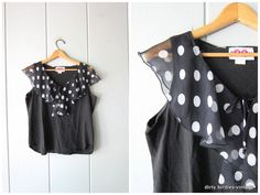 Black Tank Top with Polka Dot Ruffle Crop Top Sleeveless Tank Peasant Skirt, It's Amazing, Vintage Sweaters, Black Tank Tops, Polka Dot, Black White, Summer Dresses, Trending Outfits, Clothing