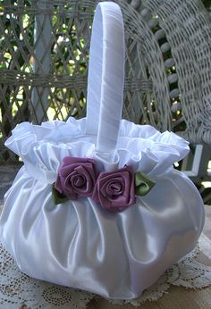 Flower Girl Basket Wedding Handmade IN BLOOM Flowergirl in Ivory or White. $30.00, via Etsy.