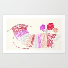 Knitting Art Print by Ana Frois