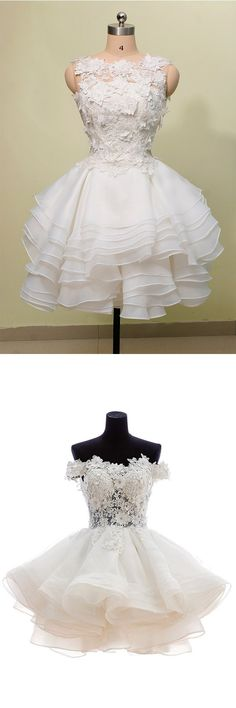 short white party dresses, cute lace short prom dresses, cheap homecoming dresses