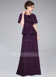 A-Line/Princess Cowl Neck Floor-Length Chiffon Mother of the Bride Dress With Lace Beading Sequins Cascading Ruffles (008040837) - JJsHouse