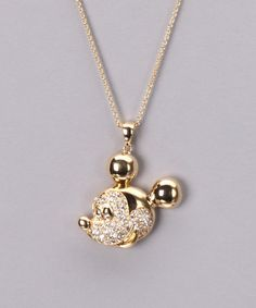 Take a look at this Gold & Crystal Mickey Necklace on zulily today!