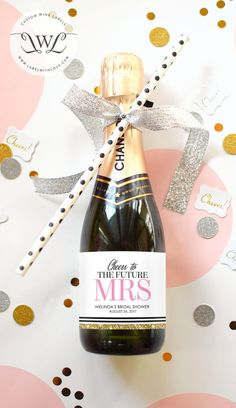 Custom Bridal Shower Mini Champagne Labels - Weatherproof Wedding Shower Favors Faux Glitter Miss to Mrs. Bachelorette Party Decorations