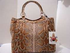 """Braschi"" Exotic Italian Designer Handbag In Genuine Python Leather - New Deserto Color!    http://STORES.EBAY.COM/BRASCHIENTERPRISES"