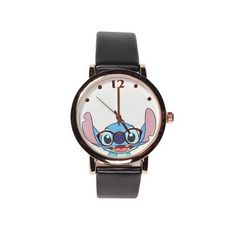 nice Lilo and Stitch Face Watch with Black Leather Band - For Sale