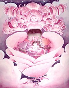 """""""""""The Birth of Steven"""" in. Watercolor and Gouache One of three pieces I painted for the Steven Universe/Adventure Time show at Gallery Nucleus. """" by gracekraft >>This is sad. Cartoon Network, Perla Steven Universe, Fanart, Steven S, Universe Art, Rose Quartz, Adventure Time, Manga Anime, Anime Art"""