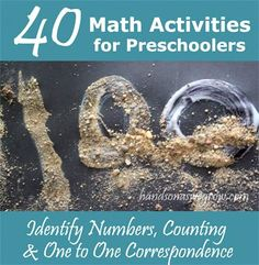 40 ways of learning numbers,counting and one to one correspondence for preschoolers.