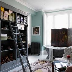 Turquoise Bathroom with Ladder
