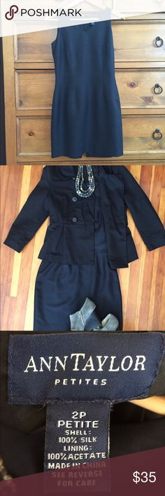 """Ann Taylor 100% Silk LBD Classic sleeveless black cocktail dress in 100% silk by Ann Taylor. Fully lined and in like-new condition. Has been worn by me a handful of times and cared for very carefully. I'm 5'2"""" and this hits mid-thigh on me. Very flattering! (French Connection jacket and vintage crystal necklace will also be for sale in my closet soon ) Ann Taylor Dresses Mini"""