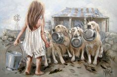 Art Painting by Maria Magdalena Oosthuizen includes Labradors op die plaas / On the Farm, this example of Animals & Wildlife Art has inspired this exceptionally talented artist. View other Paintings by Maria Magdalena Oosthuizen in our Online Art Gallery. Painting People, Painting For Kids, South African Artists, Art For Art Sake, Art Graphique, Wildlife Art, Art Journal Inspiration, Types Of Art, Beautiful Paintings