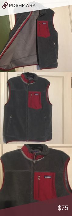 Patagonia vest! Gray vest with red lining. Very warm and comfortable. Men's size large but can also be used as a women's xl. No piling or flaws. Patagonia Jackets & Coats Vests