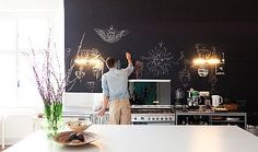 I'm thinking of putting up chalkboard wall-covering in the kitchen...