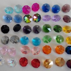 lot 100 perle ancienne en cristal  diam 3.5 mm couleurs mélangées facettes