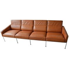 Rare Leather Arne Jacobsen Series 3300 Four-Seat Sofa | From a unique collection…