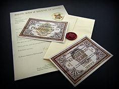 Harry Potter : Carta de aceptación a Hogwarts - Billete para el Expreso de Hogwarts - Billete para el autobús noctámbulo