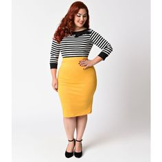 Vintage Plus Size Mustard Yellow Stretch Knit High Waist Pencil Skirt ($21) ❤ liked on Polyvore featuring plus size women's fashion, plus size clothing, plus size skirts, yellow, high-waist skirt, plus size high waisted skirt, yellow pencil skirt, high-waisted pencil skirts and white skirt