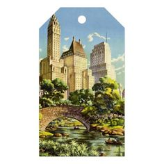 New York City Central Park Vintage Poster Gift Tags - classic gifts gift ideas diy custom unique