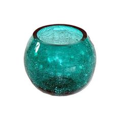 Teal Crackle Glass Round Bowl | Dunelm