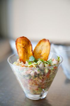 ceviche blanco with plantain chips