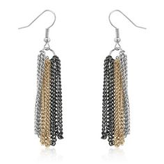 Image result for chain dangle earrings silver hold tones