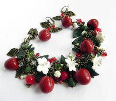 Cherry Berry Bracelet and earrings Polymer clay jewelry set Great gift Cherry bracelet handmade bijouterie Cherry earrings