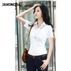 2017 Spring Autumn Career White Shirt Female Long-sleeved Slim Shirt Formal Blouse Overalls OL Large Size