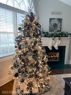 Blue Christmas Decoration Ideas Luxury Blue and Silver Christmas Tree for the Living Room 2 Bees Blue Christmas Tree Decorations, Elegant Christmas Trees, Silver Christmas Tree, Christmas Mantles, Purple Christmas, Victorian Christmas, Christmas Ornaments, Xmas Tree, Christmas Stuff
