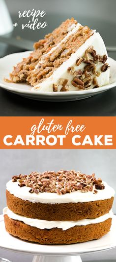 Make gluten free carrot cake, or cupcakes, that's loaded with fresh carrots and topped with cinnamon cream cheese frosting. Perfect for Easter, or any time! #glutenfree #carrotcake #easter