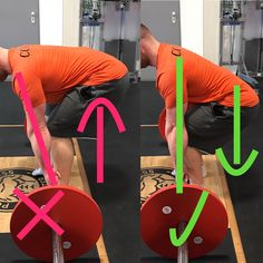 Der Hinterns beim Kreuzheben! Links ist der Hintern zu weit oben. Somit sind die Schultern vor der Stange und der Rücken ist nicht gerade. Dadurch bewegt sich das Gewicht beim Start der Bewegung von einem Weg und verlagert sich auf den Vorderfuß, es wird schwer, das Gleichgewicht zu halten. Rechts sieht man die ideale Startposition, der Hintern ist weiter unten (Nicht zu tief absetzen) und die Schultern über der Stange. Der Rücken bleibt gerade und es ist einfacher das Gleichgewicht zu…