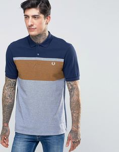Image 1 ofFred Perry Polo Shirt With Chest Stripe In Carbon Blue