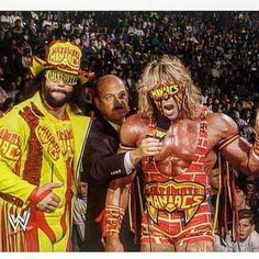 """Ultimate Madness - Randy """"Macho Man"""" Savage and The Ultimate Warrior in WCW with Mean Gene Okerlund. The Ultimate Warrior, Watch Wrestling, Wrestling Wwe, Wrestling Stars, Wrestling Superstars, Wwe Tna, Wwe Wrestlers, Famous Wrestlers, Lucha Libre"""