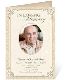 AO Single Fold Programs : AO Alexandria Letter Single Fold Funeral Program Template