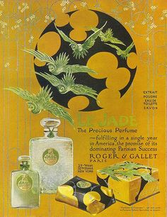 Roger et Gallet Perfumes Le Jade, a light green perfume, in a crackled glass flacon