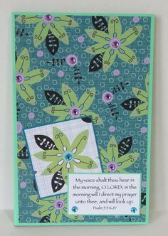 Blue And Green Flowers Christian Prayer Journal With Scripture by stufffromtrees on Etsy
